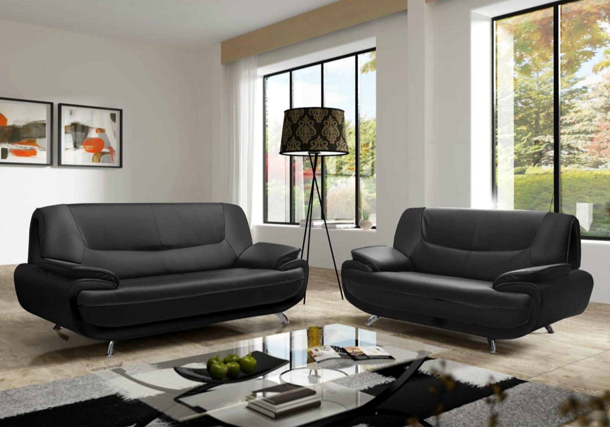 Canapé design noir 3+2 CLOÉ