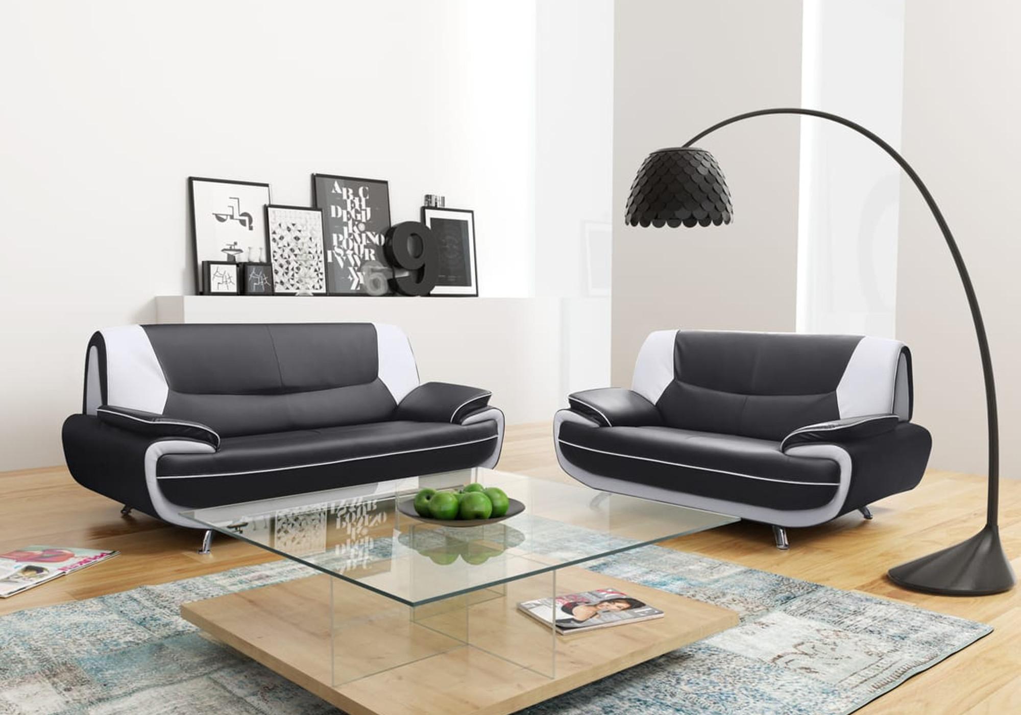 Canapé design noir blanc 3+2 CLOÉ