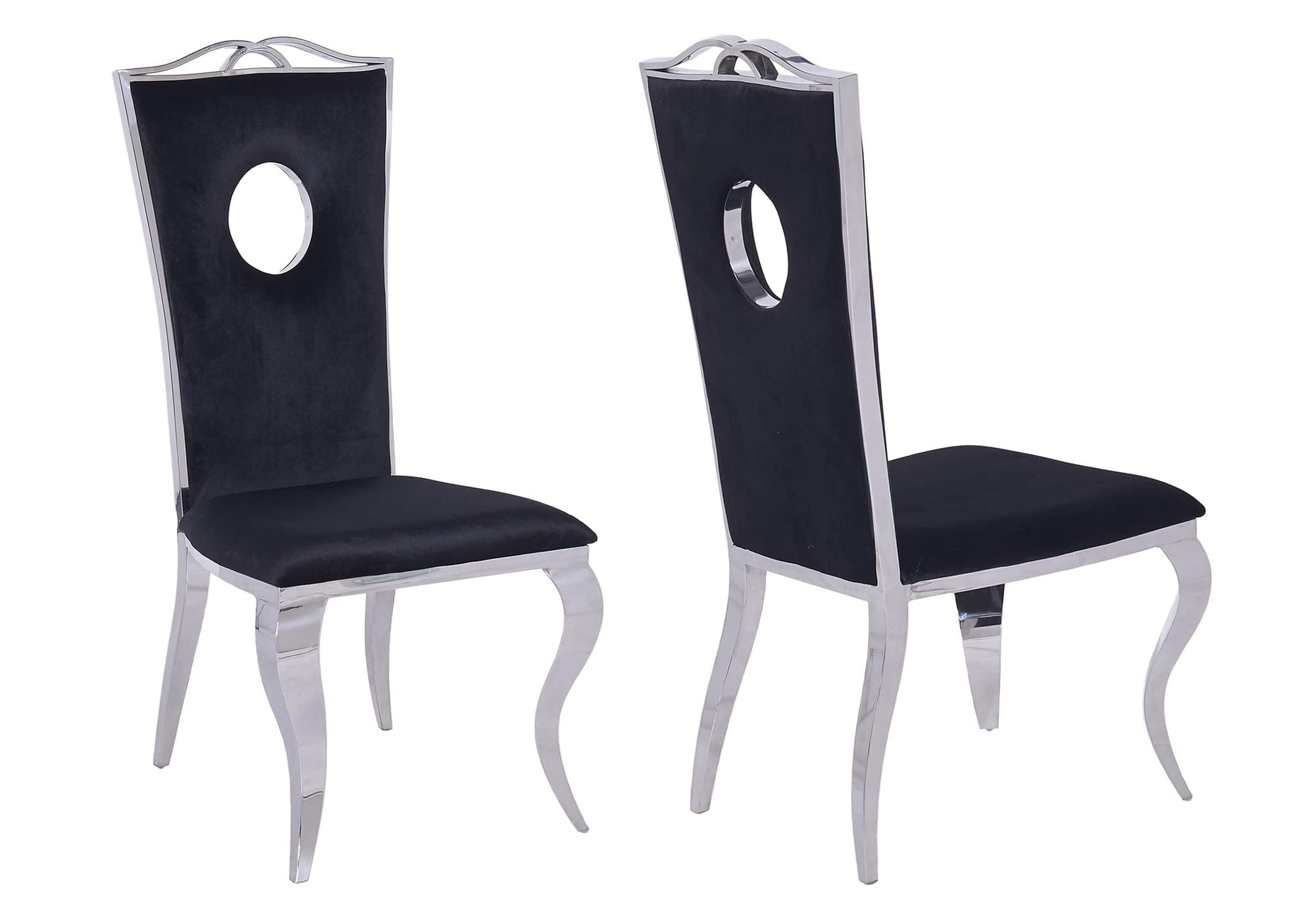 Chaises baroque chromé velours noir PIA