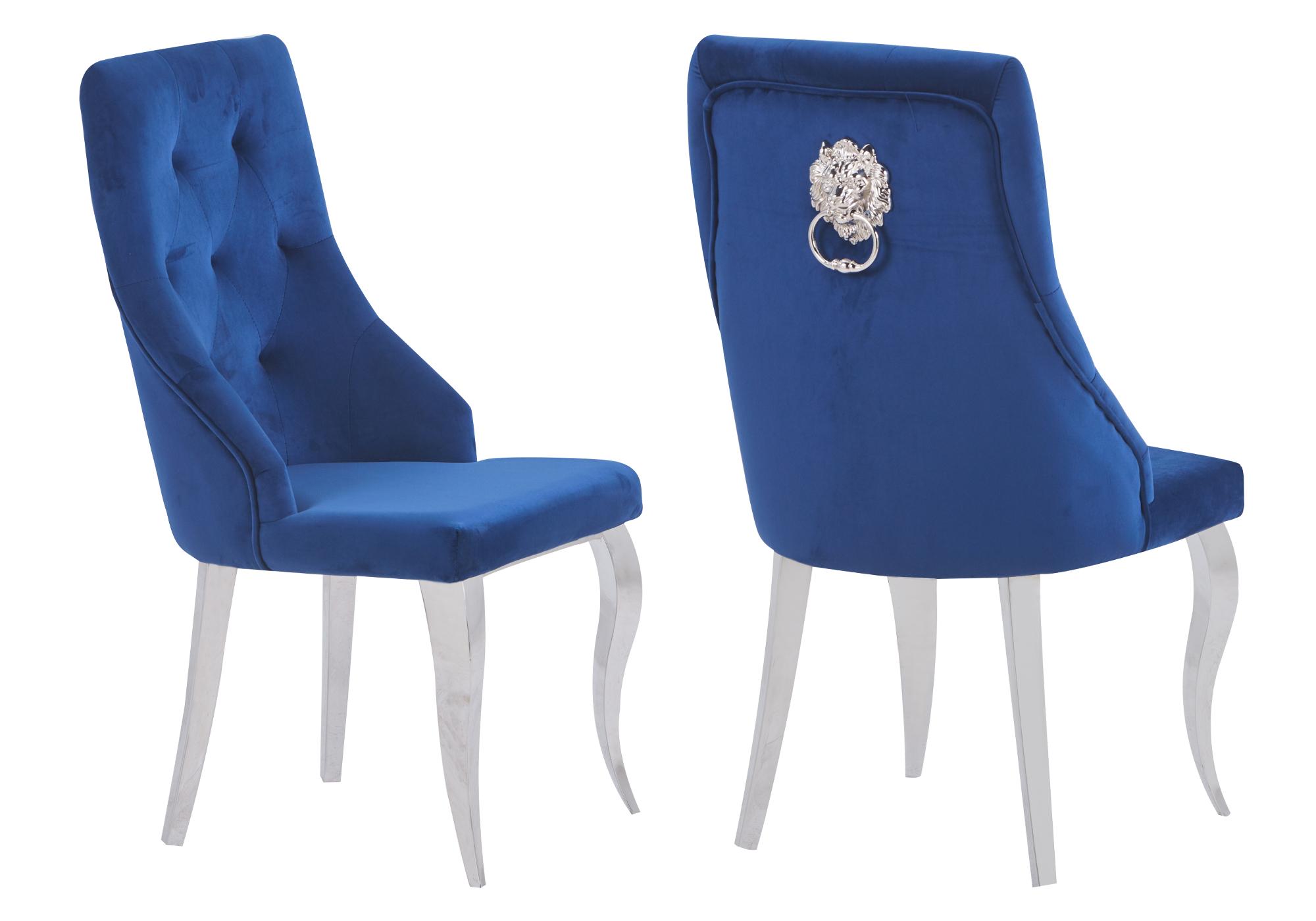 Chaises capitonné velours bleu GIA