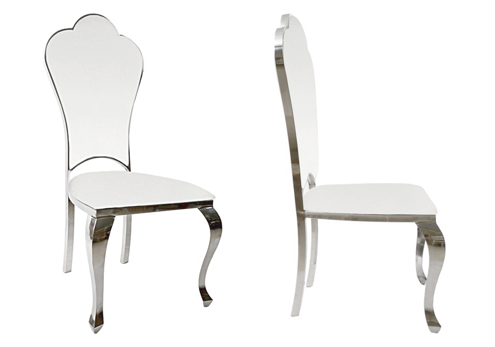 Chaises chromé baroque blanc UDO