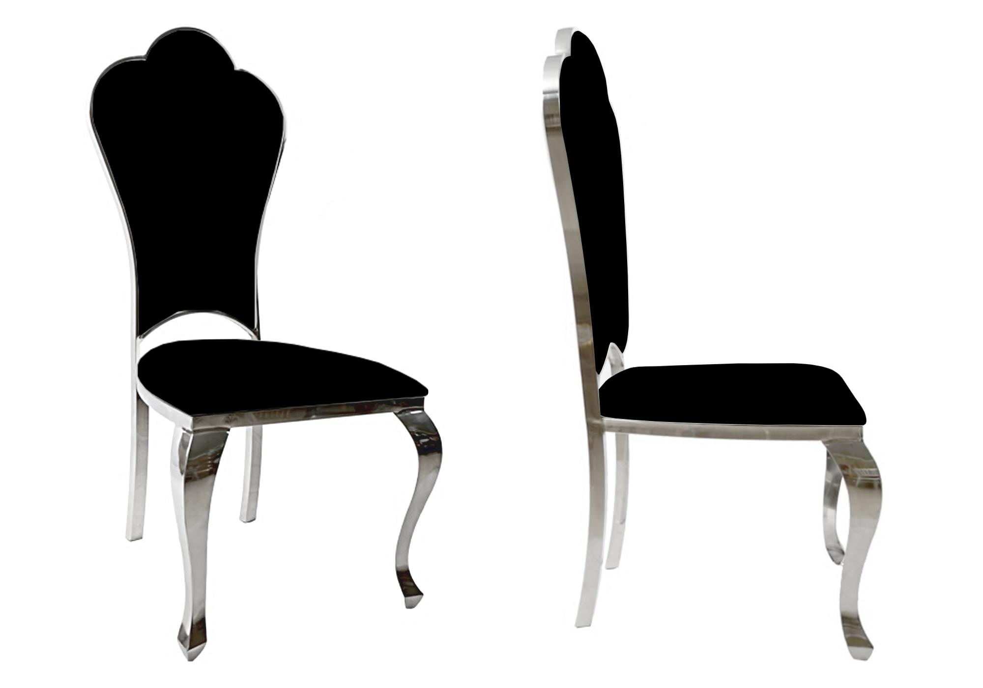 Chaises chromé baroque noir UDO