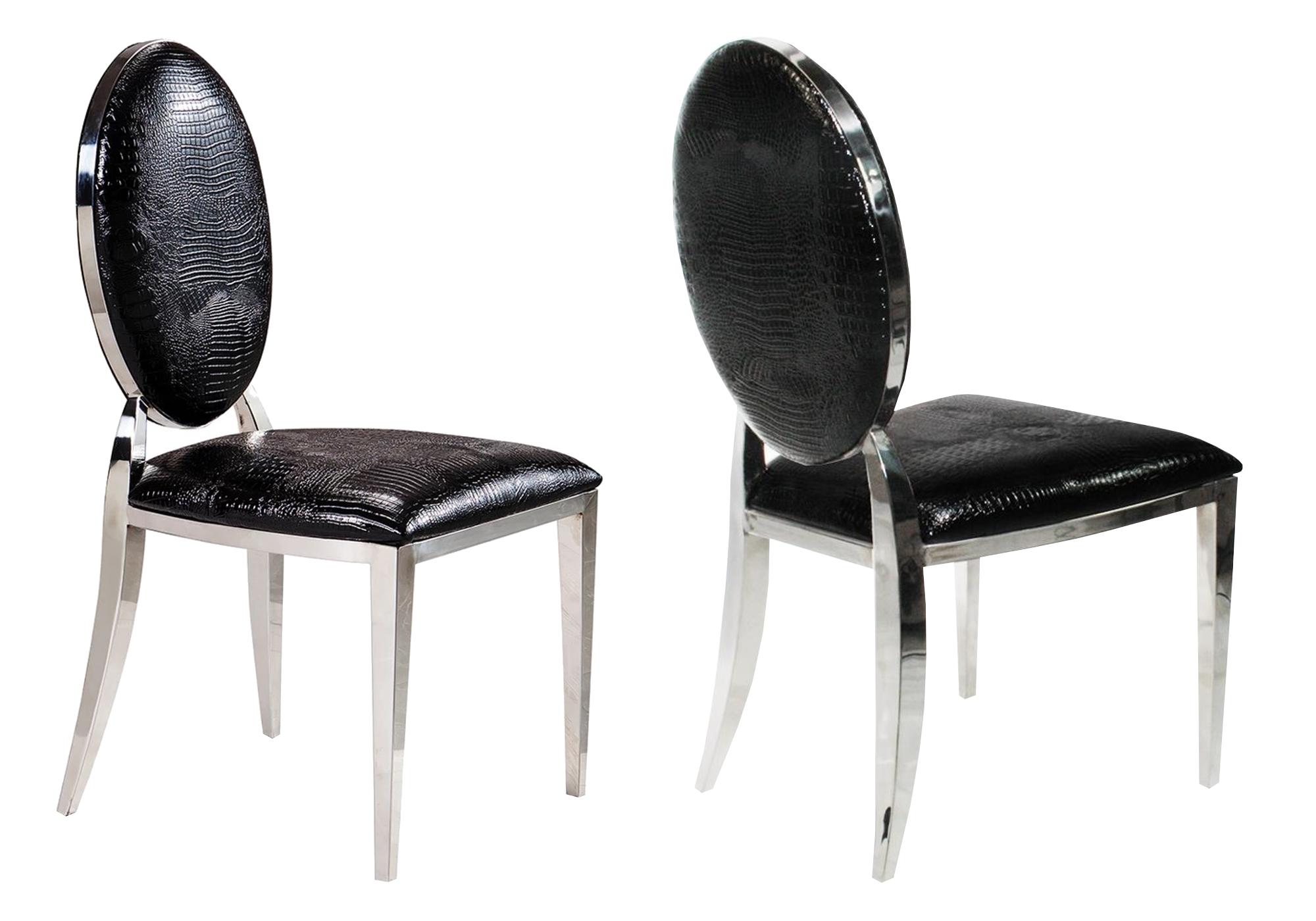 Chaises médaillon chromé croco noir NEO