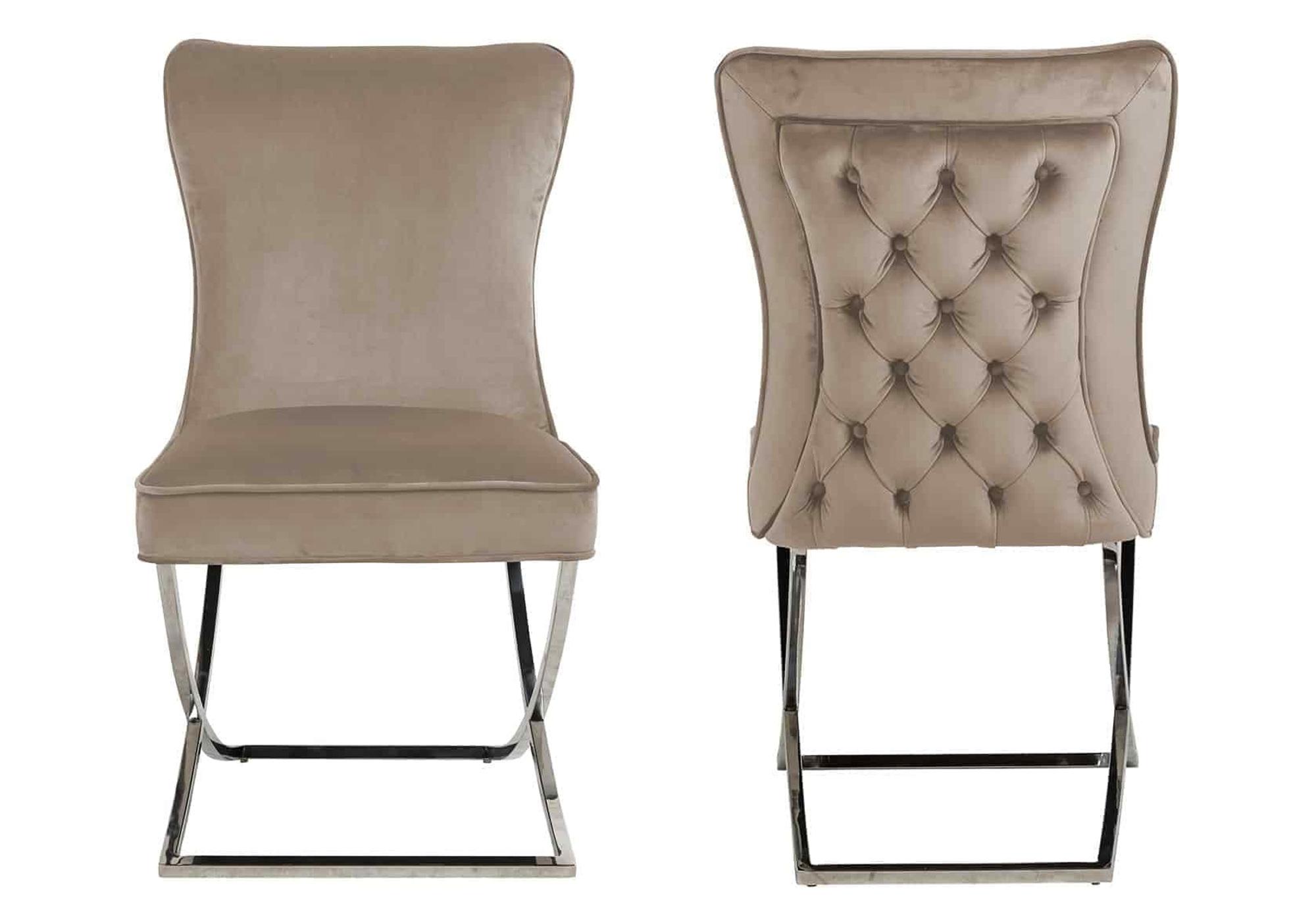 Chaises design capitonné beige ENZO