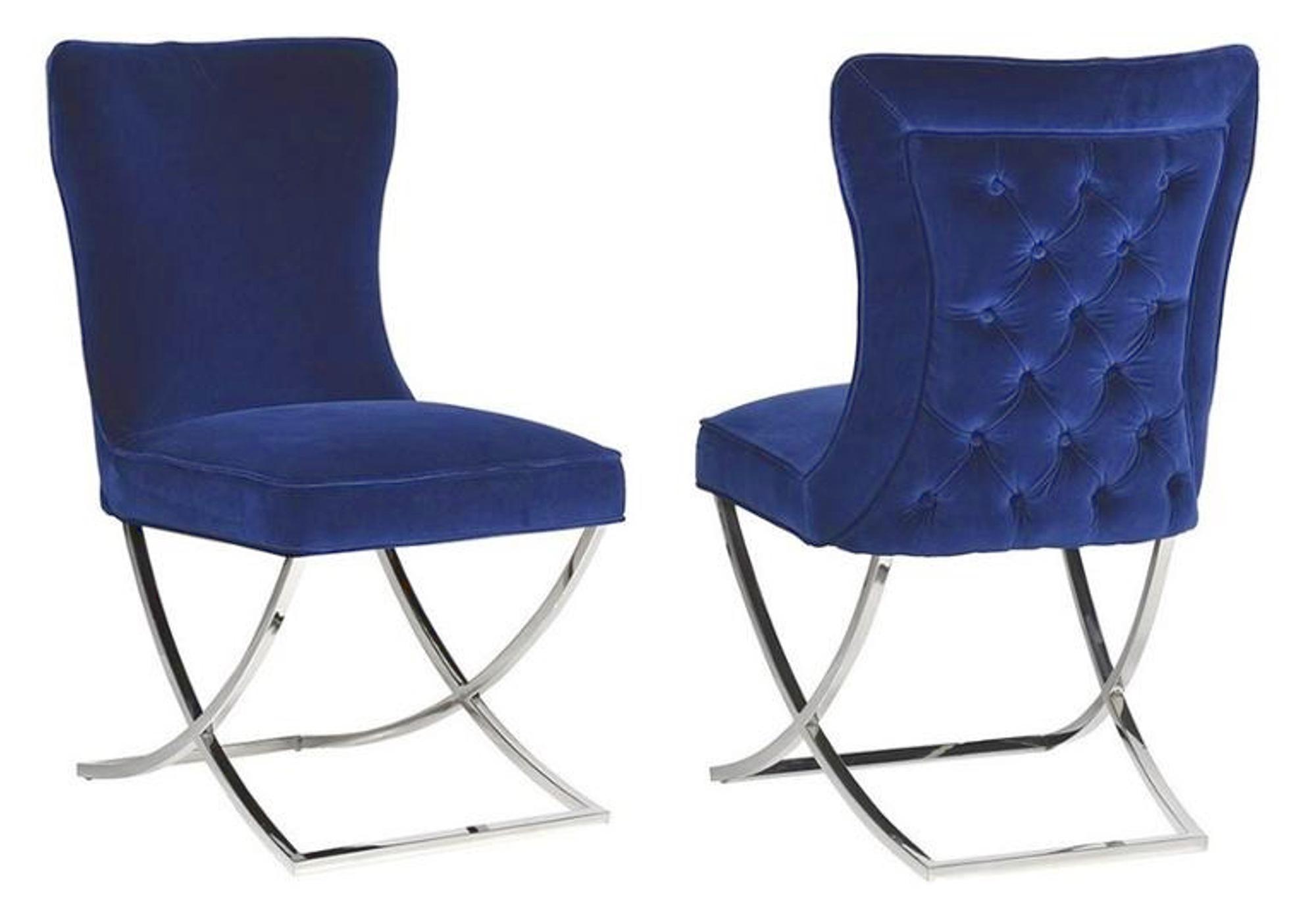 Chaises design capitonné bleu ENZO