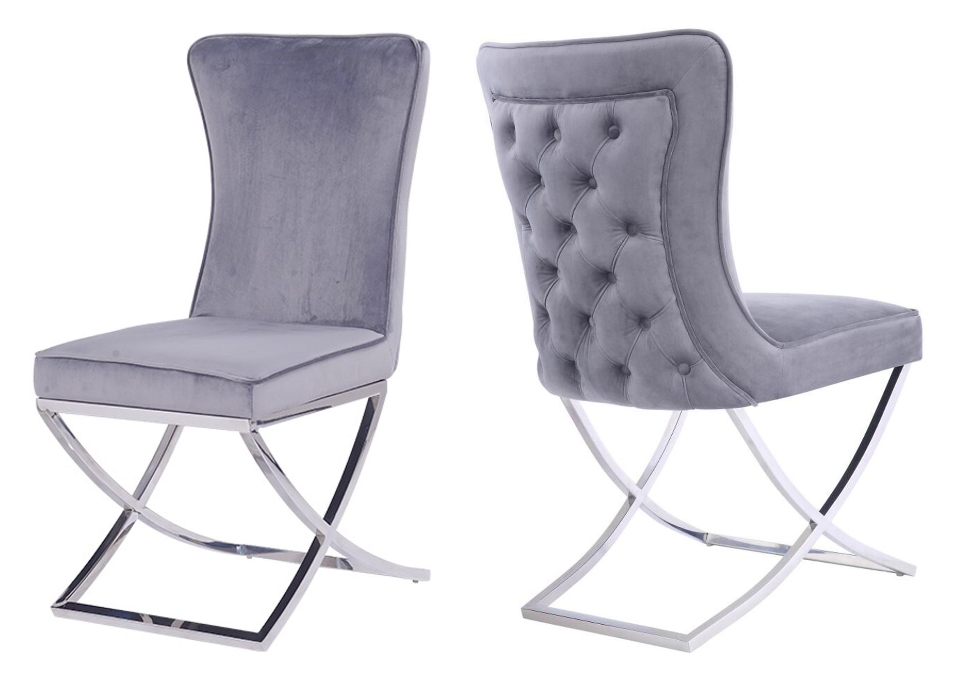 Chaises design capitonné gris ENZO