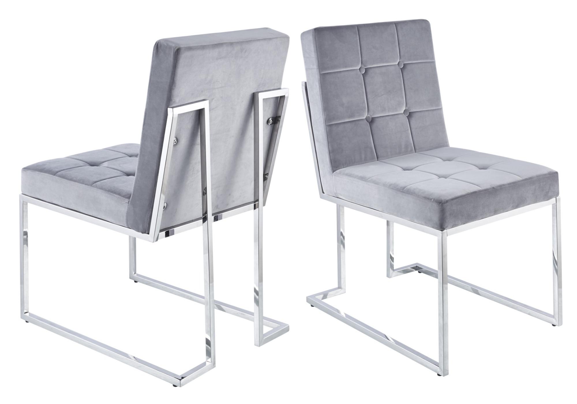 Chaises design capitonné gris RAY