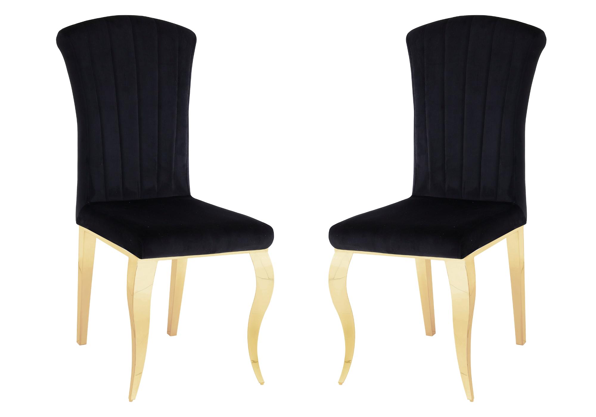 Chaises doré velours noir ÉNO