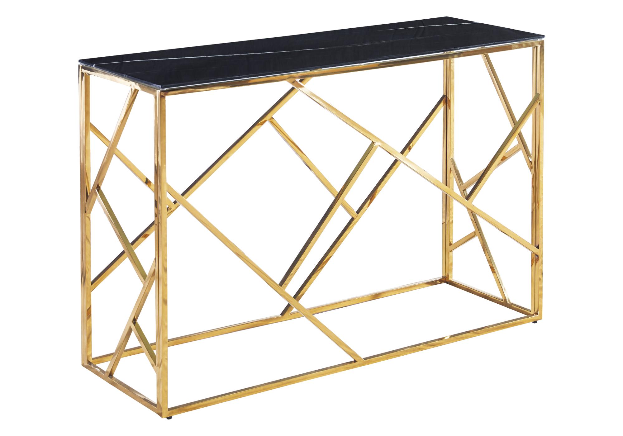 Console design doré marbre noir ILÉA