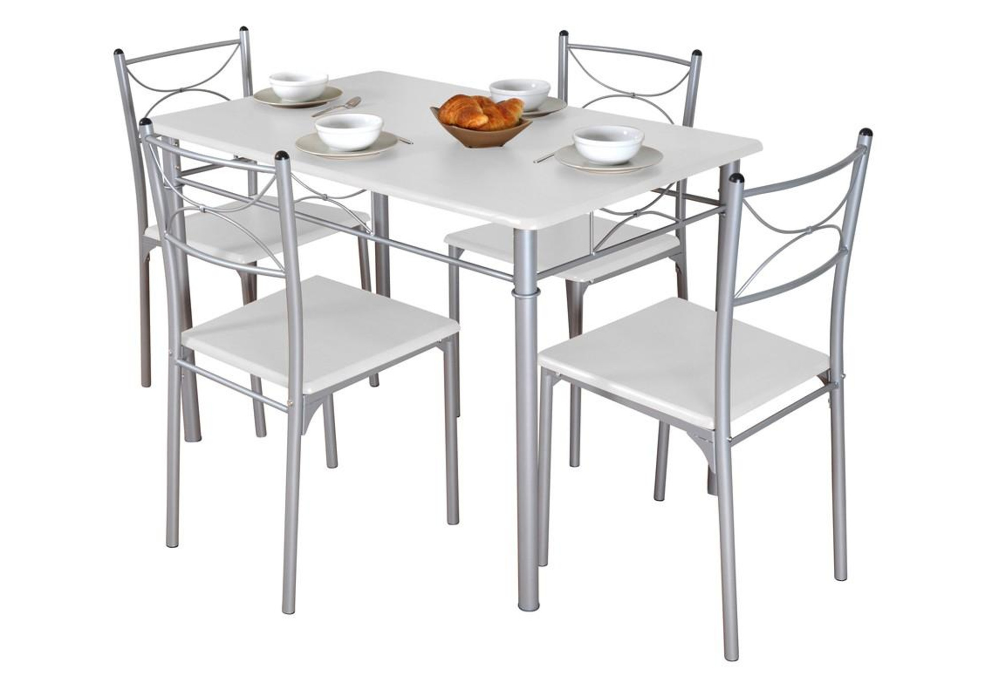 Ensemble table 4 chaises blanc IDIL