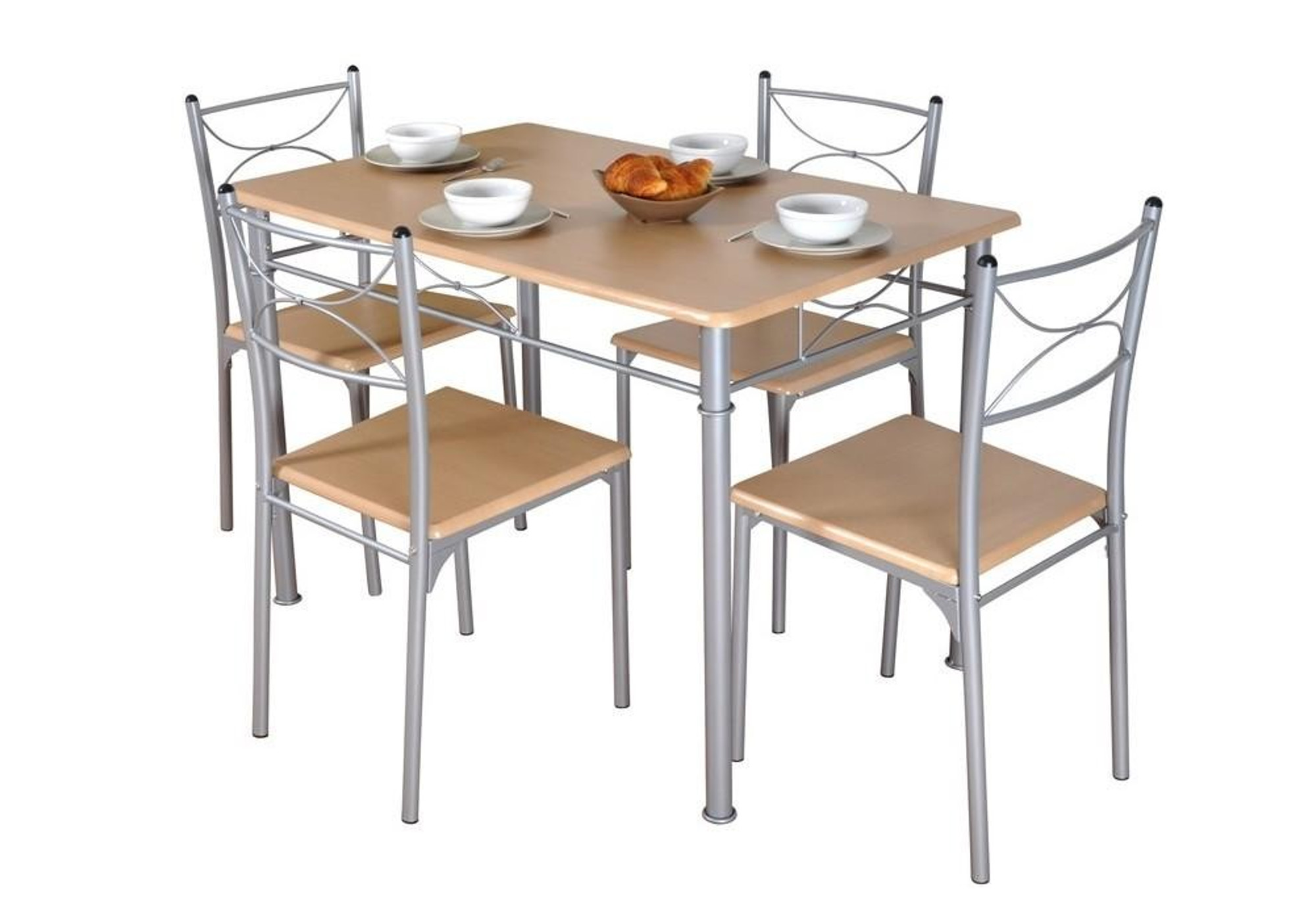 Ensemble table 4 chaises hêtre IDIL