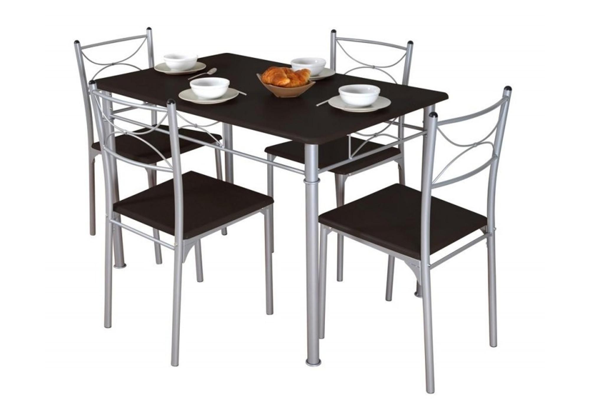 Ensemble table 4 chaises wengé IDIL