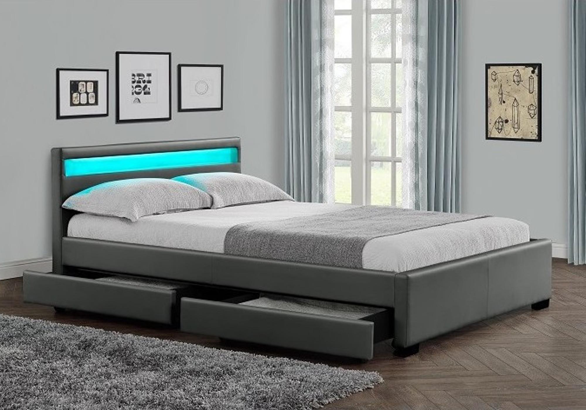 Lit design led rangements gris AVA XL