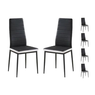 Lot 6 chaises design noir blanc FLY