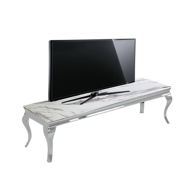 Meuble tv chromé marbre blanc NEO