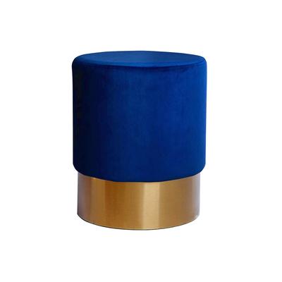 Pouf design doré velours bleu LISY