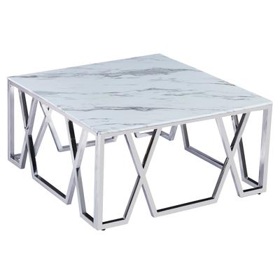 Table basse design chromé marbre OREA