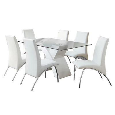 Table laqué 4 chaises blanches ROY