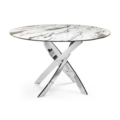 Table ronde chromé marbre blanc DESIGN