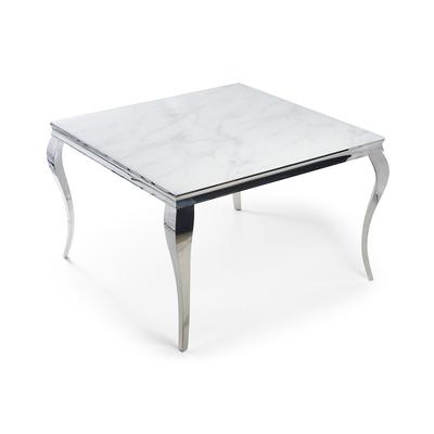 Table carré chromé marbre blanc NEO