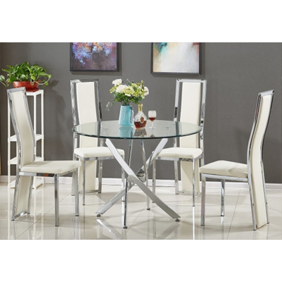 Table ronde 6 chaises chromes DESIGN