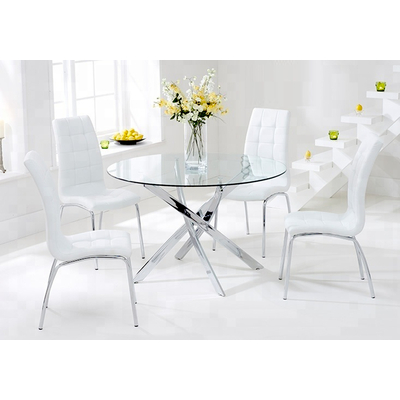 Table chromé 6 chaises blanches DESIGN