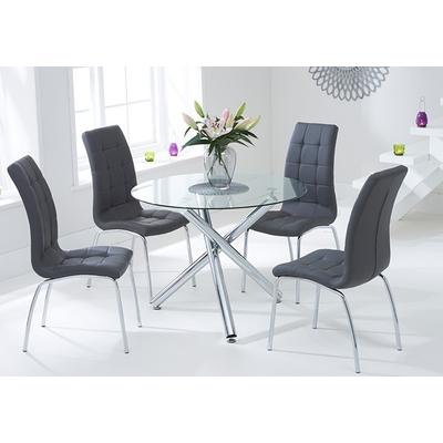 Table ronde chromé 6 chaises gris RETRO