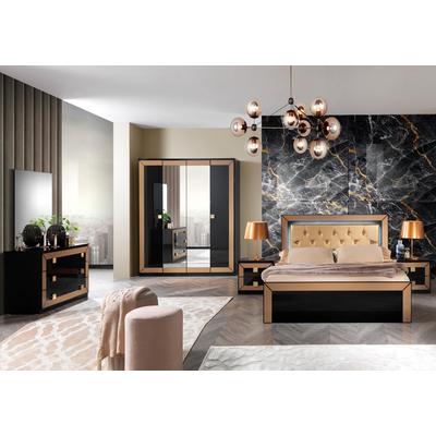 Chambre complète laqué noir doré CARLA