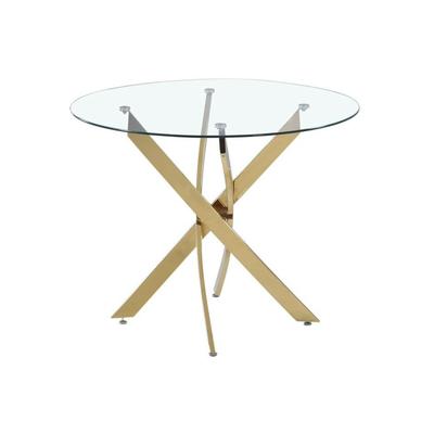 Table ronde doré verre trempé DESIGN