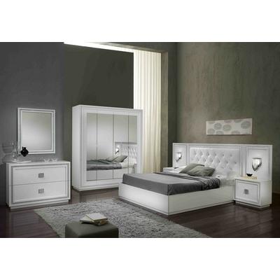 Chambre à coucher laqué blanc strass KRISTEL