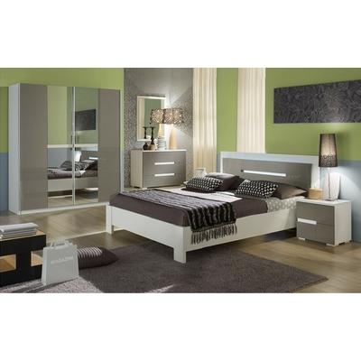 Chambre complète laqué blanc gris NIAGARA