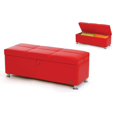 Banc bout de lit coffre simili RED