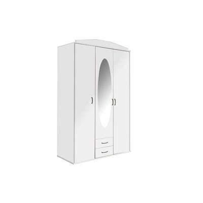 Armoire 3 portes 2 tiroirs NIKO blanc