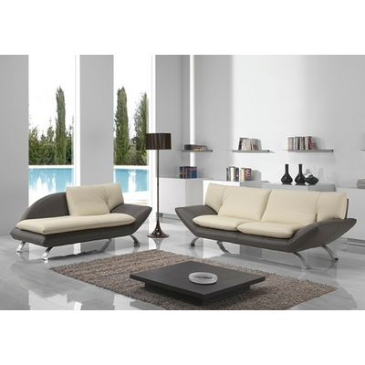 Canapé cuir design bicolore BERENI