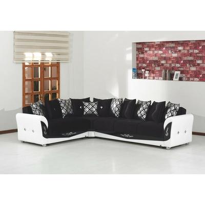 Canapé angle velours noir MILENIUM