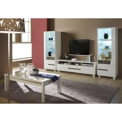 Vitrine meuble tv laqué blanc ATHENA