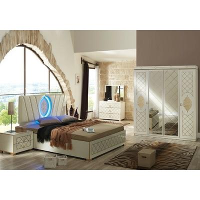 Chambre complète laqué beige led DUBAI