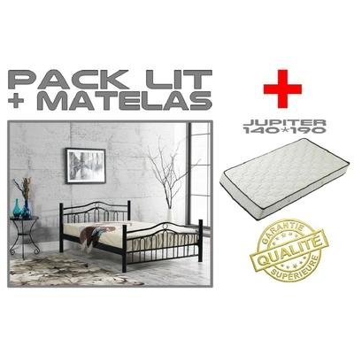 Lit double 140cm métal noir-blanc & matelas BOSTON