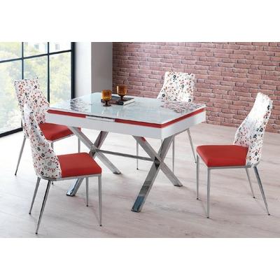 Vitrine meuble tv blanc versace mur tv living design pas cher - Table extensible chaises ...