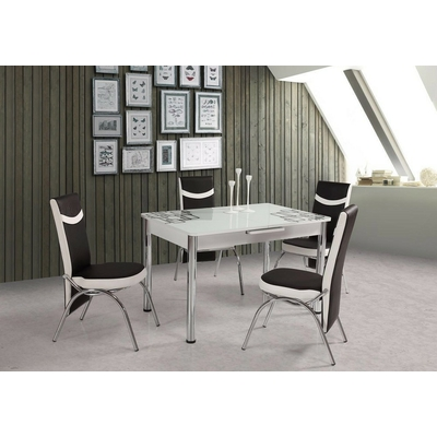 Table extensible & chaises blanc MODENA