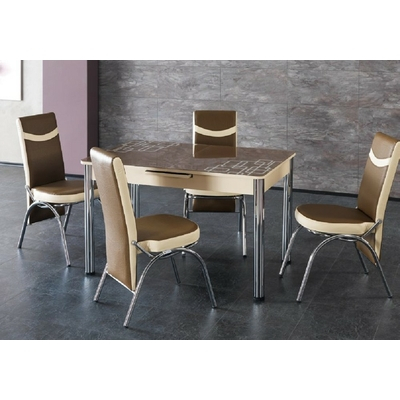 Table extensible & chaise choco MODENA