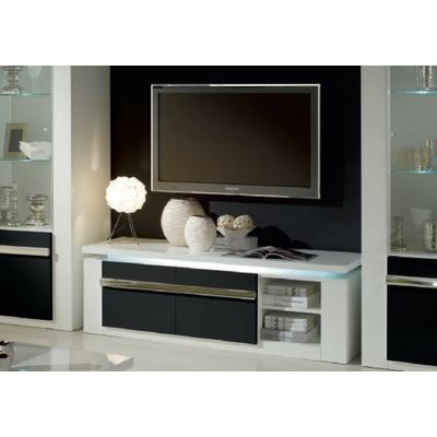 Meuble Tv laqué blanc noir éclairage RIVA