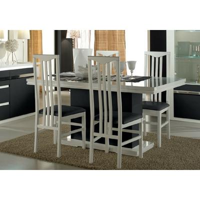 Table salle à manger laqué blanc noir RIVA