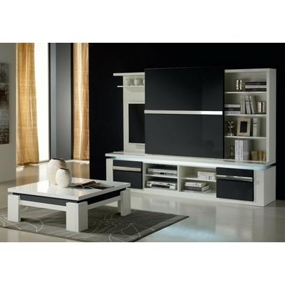 Meuble tv mural design laqué blanc noir RIVA