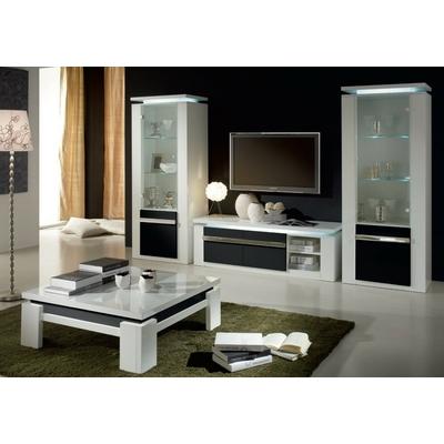Vitrine meuble tv laqué blanc noir RIVA