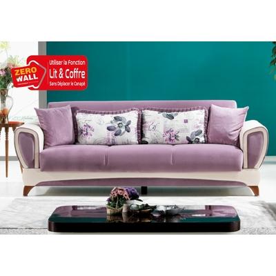 Canapé lit-coffre mauve IZORA