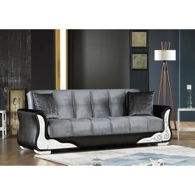 Canapé lit-coffre velours gris CIRAGAN