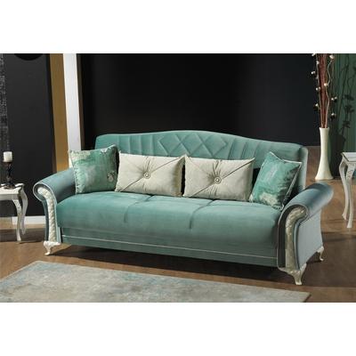 Canapé lit coffre velours turquoise SIMENA