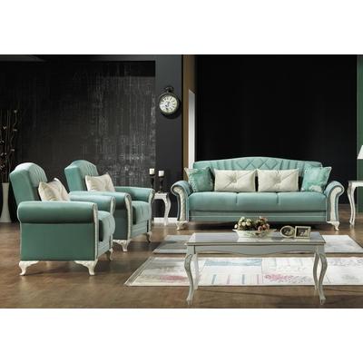 Canapé lit velours turquoise SIMENA