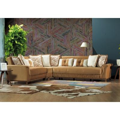 Canapé angle lit-coffre marron KRISTAL